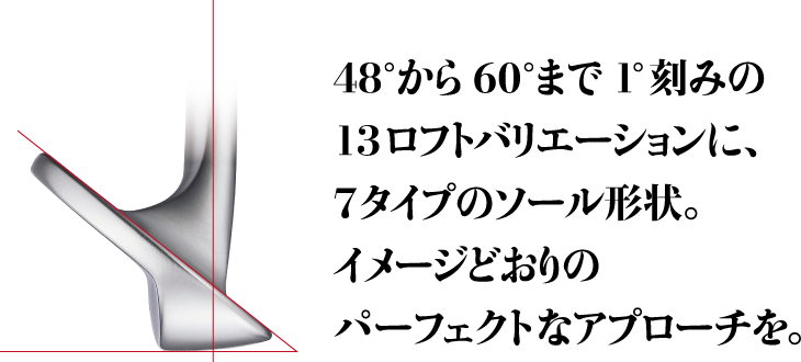 48°から60°まで1°刻みの13ロフトバリエーションに、7タイプのソール形状。イメージどおりのパーフェクトなアプローチを。